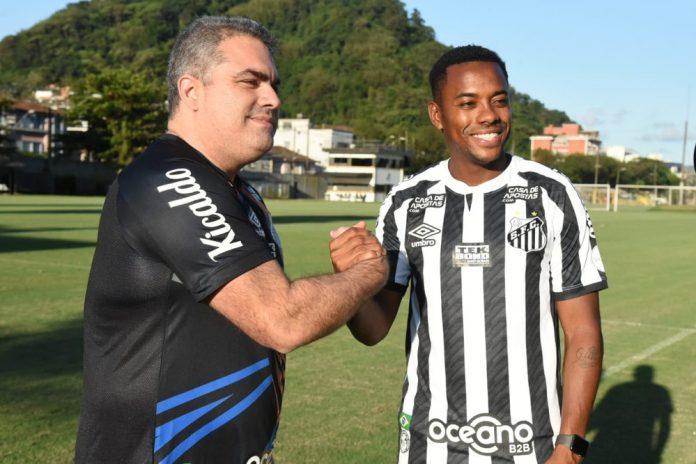 Orlando Rollo e Robinho — Foto: Divulgação / Santos FC