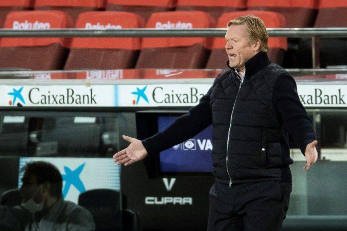 Ronald Koeman, técnico do Barcelona, no empate com o Eibar — Foto: Alejandro García/EFE