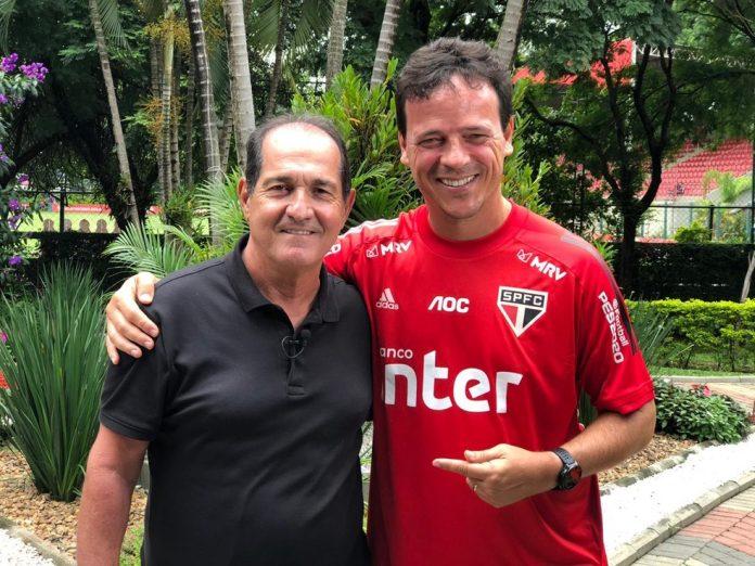 Muricy Ramalho e Fernando Diniz em visita ao São Paulo — Foto: Vanessa Santili