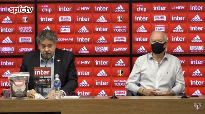 Julio Casares e Harry Massis, presidente e vice do São Paulo — Foto: Reprodução / SPFCTV