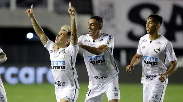 Soteldo comemora gol do Santos contra o Boca Juniors na semifinal da Libertadores