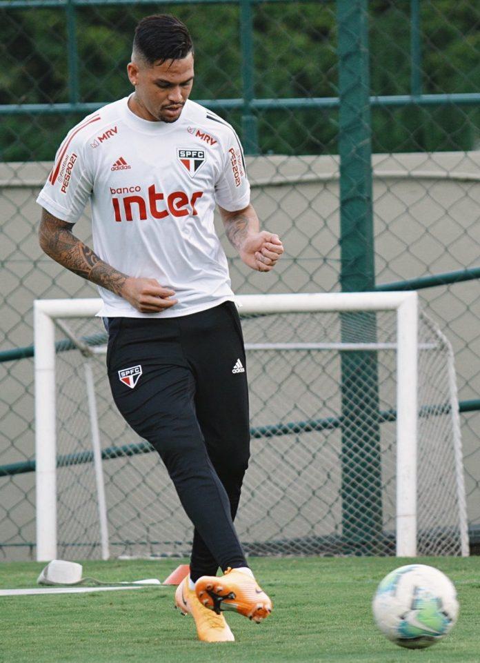 Luciano em treino do São Paulo — Foto: Divulgação São Paulo