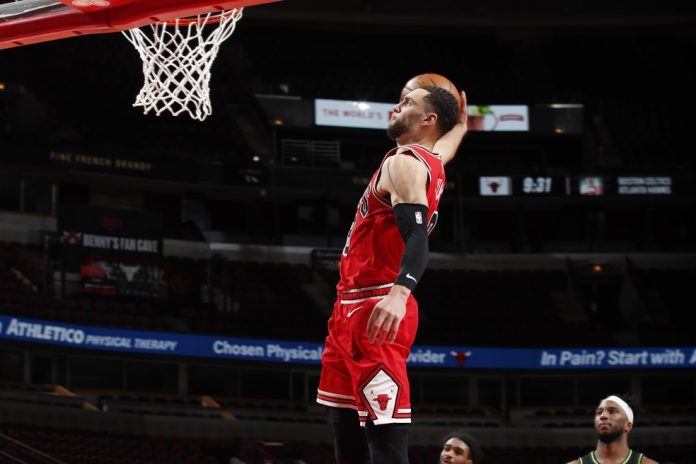 Zach LaVine foi destaque da vitória do Chicago Bulls sobre o Minnesota Timberwolves — Foto: Jeff Haynes/NBAE via Getty Images