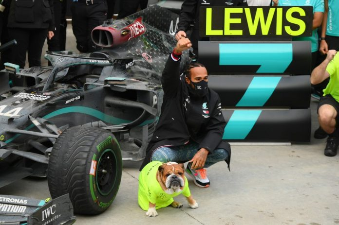 Lewis Hamilton comemora título Turquia cachorro — Foto: REUTERS/Clive Mason