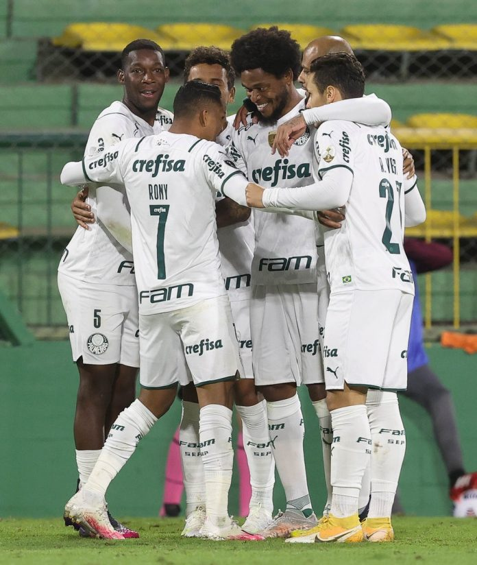 Gol do Palmeiras contra o Defensa y Justicia — Foto: César Greco/Palmeiras