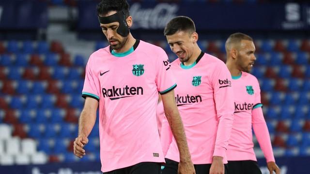 O lamento dos jogadores do Barcelona no empate com o Levante