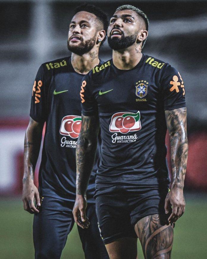 Gabriel e Neymar em convocação da Seleção em 2019