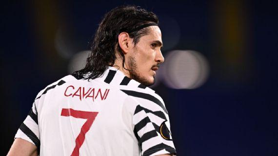 Edinson Cavani durante partida do Manchester United na semifinal da Europa League 2020/21 Getty Images